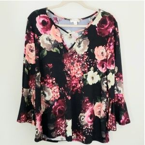 Misia Sz 3X Floral top, black, pink, green, orange